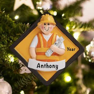 Personalized Construction Worker Christmas Ornament