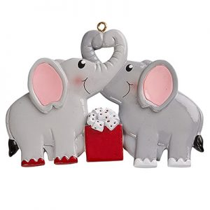 Elephant Love Couple Personalized Ornament Blank