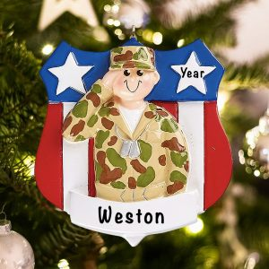 Personalized Army Military Christmas Ornament