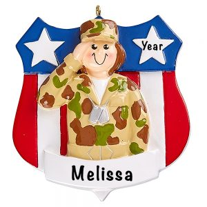 Army Girl Military Personalized Ornament