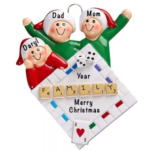Game Night Family of 3 Personalized Ornament