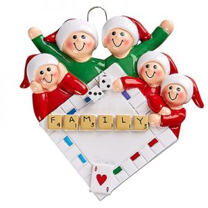 Game Night Family of 3 Personalized Ornament Blank