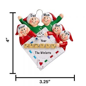 Game Night Family of 5 Personalized Christmas Ornament