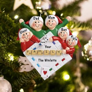 Personalized Game Night Family of 5 Christmas Ornament