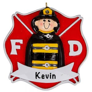 Fire Fighter Guy Personalized Ornament