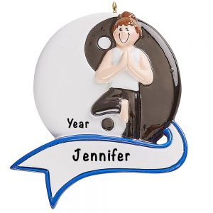Yoga Girl Yin and Yang Personalized Ornament
