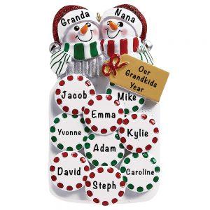 Mason Jar Snow Couple Personalized Ornament