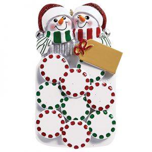Mason Jar Snow Couple Personalized Ornament Blank