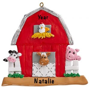 Farmyard Barn Animals Personalized Ornament