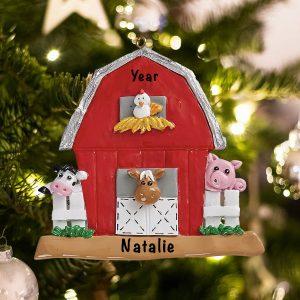 Personalized Farmyard Barn Animals Christmas Ornament