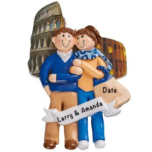 Love in Rome Italy Couple Personalized Ornament