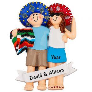 Love in Mexico Couple Personalized Ornament