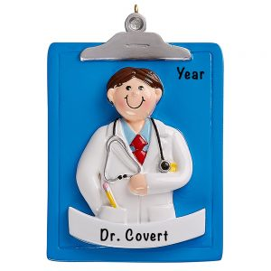 Doctor Guy Clipboard Personalized Ornament