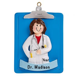 Doctor Girl Clipboard Personalized Ornament