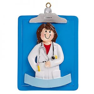 Doctor Girl Clipboard Personalized Ornament Blank