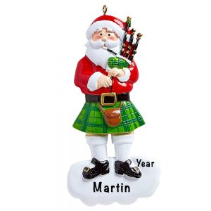 Scottish Bagpipes Santa Personalized Ornament