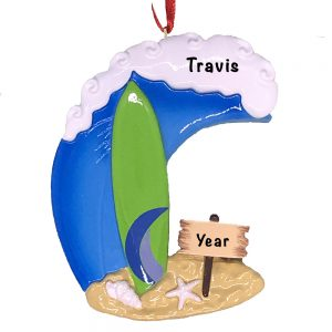Surfing Big Wave Personalized Ornament