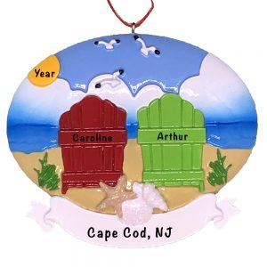 Beach Adirondack Chair Couple Personalized Ornament
