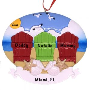 Beach Adirondack Family of 3 Personalized Ornament