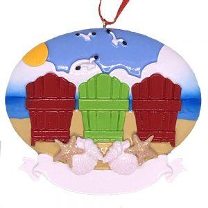 Beach Adirondack Family of 3 Personalized Ornament Blank