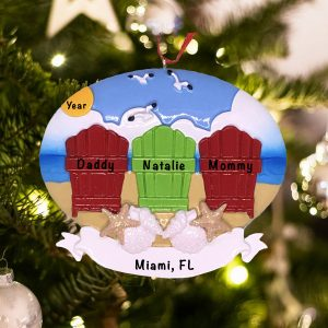 Personalized Beach Adirondack Family of 3 Christmas Ornament