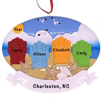 Beach Adirondack Family of 4 Personalized Ornament