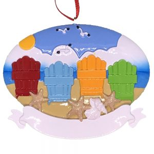 Beach Adirondack Family of 4 Personalized Ornament Blank