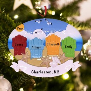 Personalized Beach Adirondack Family of 4 Christmas Ornament