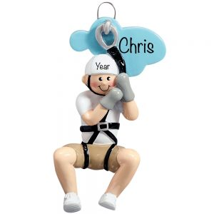 Zip Line Boy Personalized Ornament