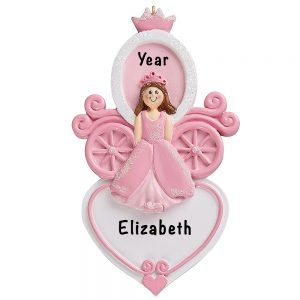 Princess Carriage Heart Personalized Ornament
