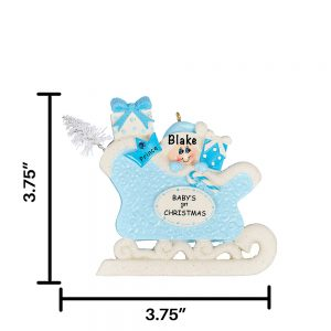 Blue Baby First Xmas Sleigh Personalized Christmas Ornament