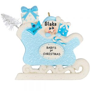 Blue Baby's First Christmas Sleigh Personalized Ornament