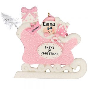 Pink Baby's First Christmas Sleigh Personalized Ornament