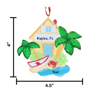 Beach House Personalized Christmas Ornament