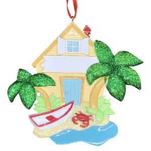 Beach House Personalized Christmas Ornament Blank
