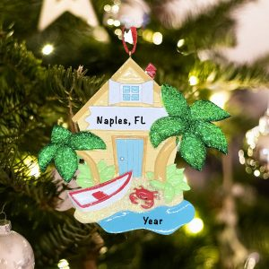 Personalized Beach House Christmas Ornament