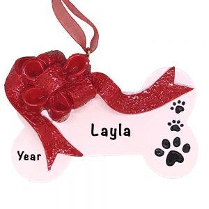 Christmas Ribbon Dog Bone Personalized Ornament