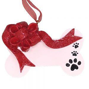 Christmas Ribbon Dog Bone Personalized Ornament Blank