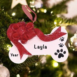 Personalized Christmas Ribbon Dog Bone Christmas Ornament