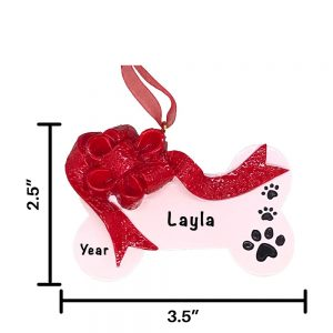Red Ribbon Christmas Dog Bone Personalized Christmas Ornament