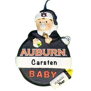 Auburn Tigers Baby's First Christmas Personalized Ornament
