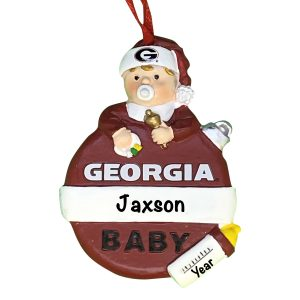 Georgia Bulldogs Baby's First Christmas Personalized Ornament