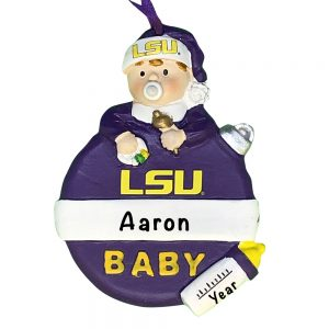 Louisiana State University Tigers Baby's First Christmas Personalized Ornament