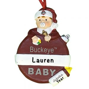 Ohio State Buckeyes Baby's First Christmas Personalized Ornament