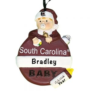 South Carolina Gamecocks Baby's First Christmas Personalized Ornament