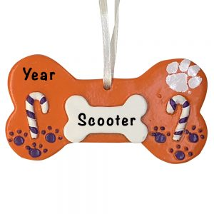 Clemson Tigers Dog Bone Personalized Christmas Ornament