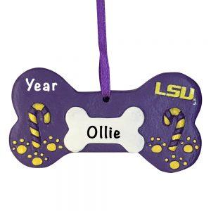 Louisiana State University Tigers Dog Bone Personalized Christmas Ornament