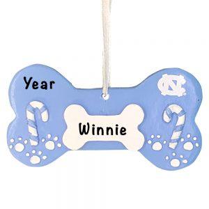 North Carolina Tar Heels Dog Bone Personalized Christmas Ornament