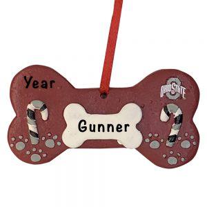Ohio State Buckeyes Dog Bone Personalized Christmas Ornament