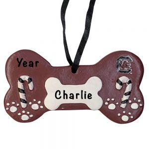 South Carolina Gamecocks Dog Bone Personalized Christmas Ornament